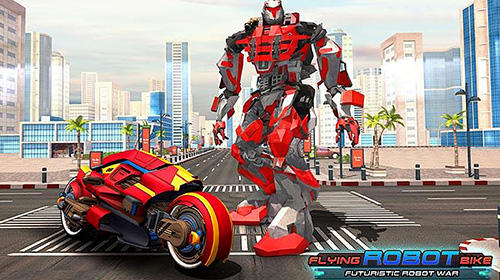 Скачать Flying robot bike: Futuristic robot war: Android Роботы игра на телефон и планшет.