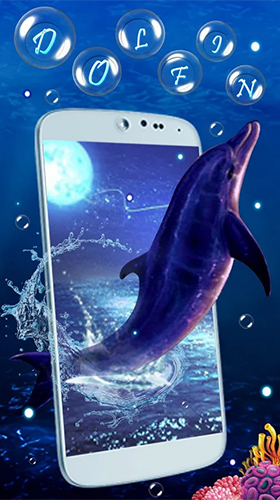 Скриншот экрана Blue dolphin by Live Wallpaper Workshop на телефоне и планшете.