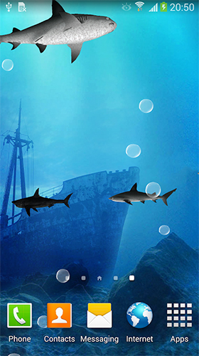 Скриншот экрана Sharks 3D by BlackBird Wallpapers на телефоне и планшете.